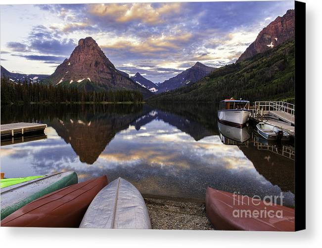 Serene Canvas Print featuring the photograph Serenity On Two Medicine Lake by Expressive Landscapes Fine Art Photography by Thom