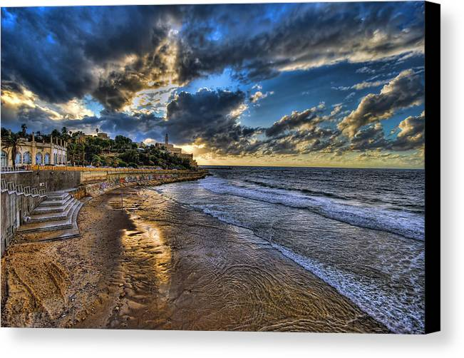 Israel Canvas Print featuring the photograph the golden hour during sunset at Israel by Ronsho