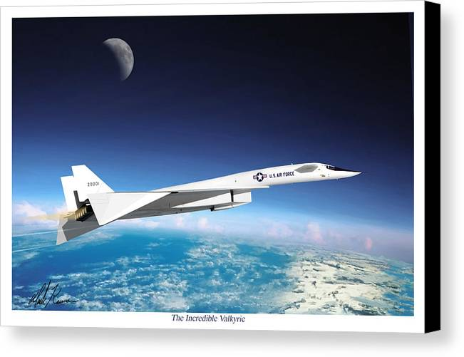 Aviation Canvas Print featuring the painting The Incredible Xb-70 Valkyrie by Mark Karvon