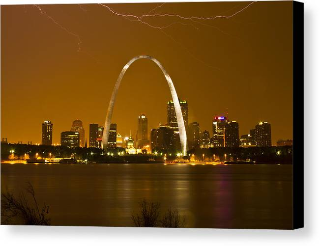 St. Louis Canvas Print featuring the photograph Thunderstorm Over The City by Garry McMichael