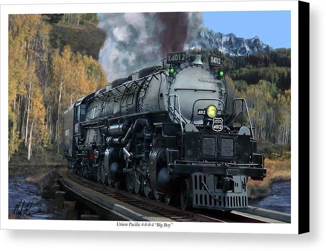 Railroad Canvas Print featuring the painting Union Pacific 4-8-8-4 Big Boy by Mark Karvon