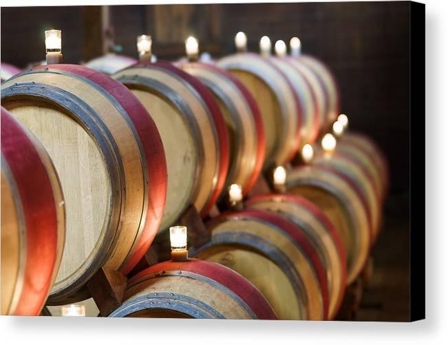 California Canvas Print featuring the pastel Wine Barrels by Francesco Emanuele Carucci