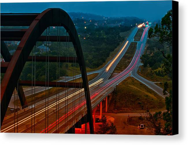 360 Bridge Canvas Print featuring the photograph 360 Bridge Morning Traffic by Lisa Spencer