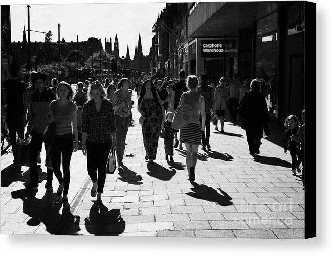 Princes Canvas Print featuring the photograph Shoppers And Tourists On Princes Street Edinburgh Scotland Uk United Kingdom by Joe Fox