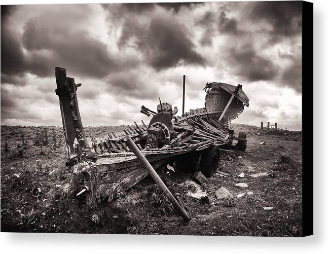 Wreck Canvas Print featuring the photograph Old Lady Of Seafield by Patrick Galvin