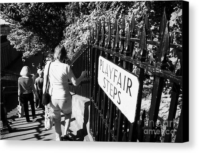 Princes Canvas Print featuring the photograph People Walking Down The Playfair Steps Down Into Princes Street Gardens Edinburgh Scotland Uk United by Joe Fox