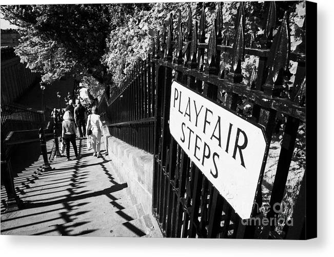 Princes Canvas Print featuring the photograph Playfair Steps Down Into Princes Street Gardens Edinburgh Scotland Uk United Kingdom by Joe Fox