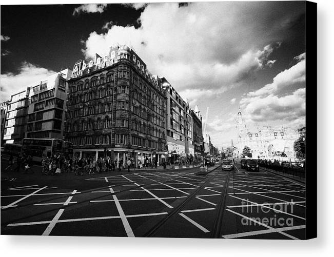 Princes Canvas Print featuring the photograph Princes Street And St David Street South With Tram Lines And Old Waverly Hotel Edinburgh Scotland Uk by Joe Fox