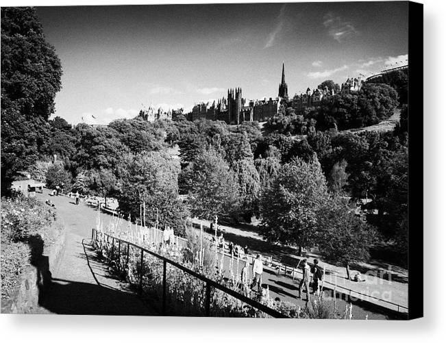 Princes Canvas Print featuring the photograph Princes Street Gardens Edinburgh Scotland Uk United Kingdom by Joe Fox