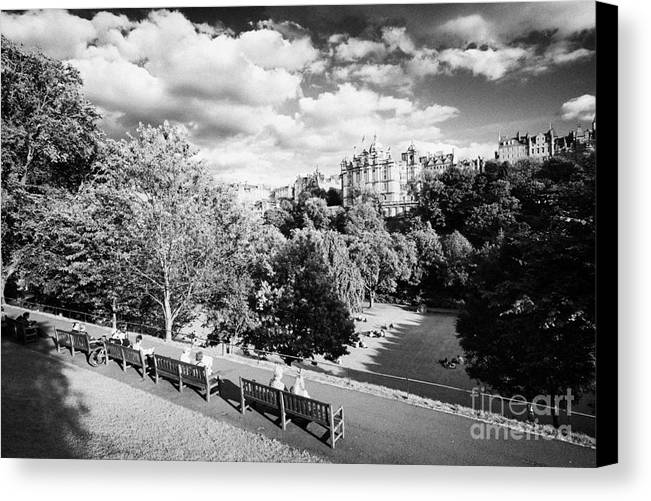 Princes Canvas Print featuring the photograph Princes Street Gardens In Edinburgh City Centre Scotland Uk United Kingdom by Joe Fox