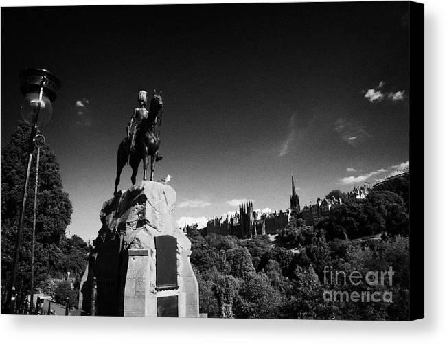 Princes Canvas Print featuring the photograph Royal Scots Greys Boer War Monument In Princes Street Gardens Edinburgh Scotland Uk United Kingdom by Joe Fox
