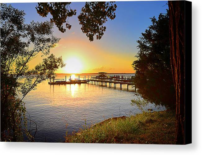 Jackson Lake Canvas Print featuring the photograph Sunset Jackson Lake by Michelle Armstrong