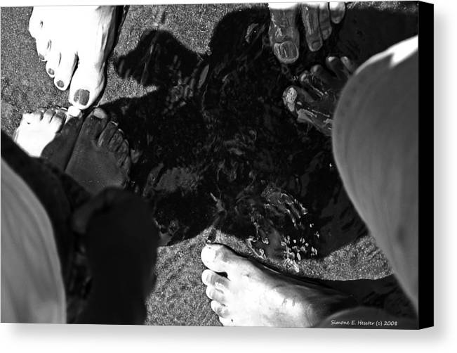 Black And White Canvas Print featuring the photograph Wet Feet by Simone Hester