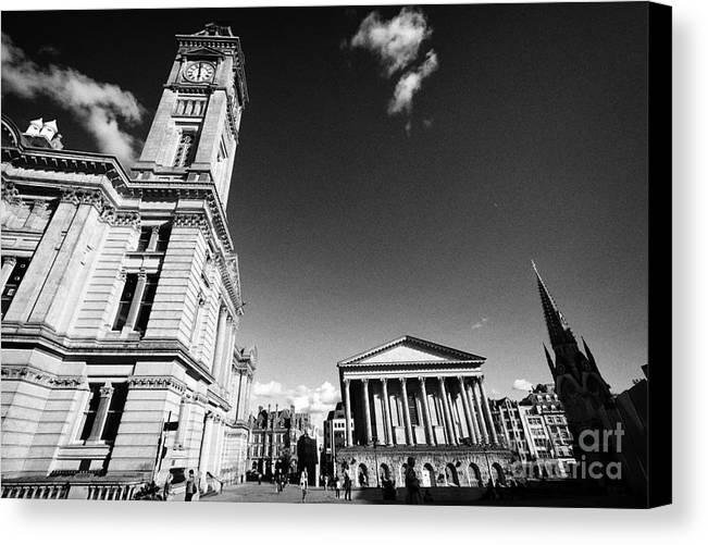 Chamberlain Canvas Print featuring the photograph chamberlain memorial in chamberlain square with Birmingham museum and art gallery and town hall UK by Joe Fox