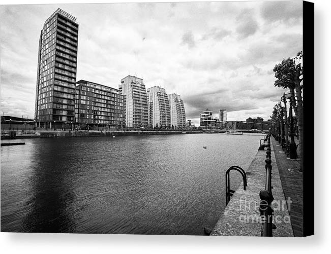 Salford Canvas Print featuring the photograph city lofts and nv buildings salford quays Manchester uk by Joe Fox