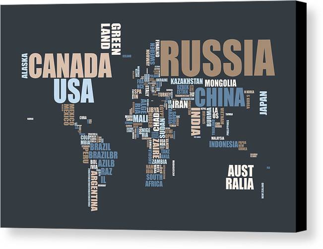 World map in words canvas print canvas art by michael tompsett world map canvas print featuring the digital art world map in words by michael tompsett gumiabroncs Gallery
