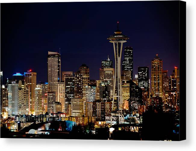 Seattle Canvas Print featuring the photograph 2010 Seattle Earth Hour A350 by Yoshiki Nakamura