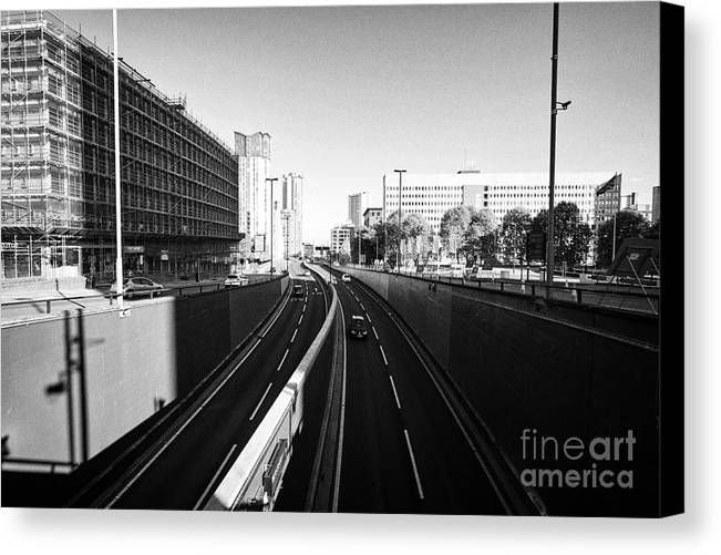 A41 Canvas Print featuring the photograph A41 Suffolk Queensway Birmingham Uk by Joe Fox