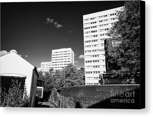Birmingham Canvas Print featuring the photograph Birmingham Civic Gardens Council Tower Block Estate Uk by Joe Fox