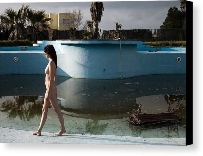 Nudes Canvas Print featuring the photograph By The Old Pool by Olivier De Rycke