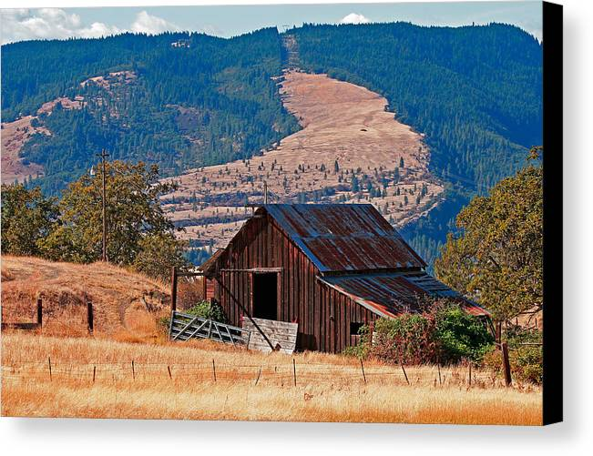 Architecture Canvas Print featuring the photograph Columbia River Barn by Peter Tellone