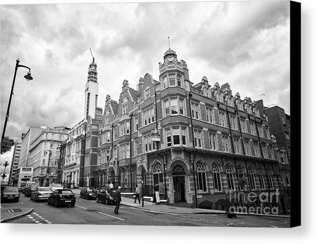 Cornwall Canvas Print featuring the photograph cornwall buildings on the corner of newhall street and cornwall st Birmingham UK by Joe Fox