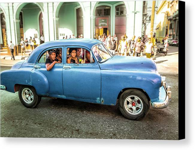 Architectural Photographer Canvas Print featuring the photograph Cuban Taxi by Lou Novick