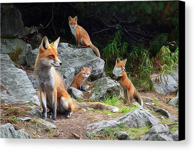 Fox Canvas Print featuring the digital art Den Mother by Steve Lockwood
