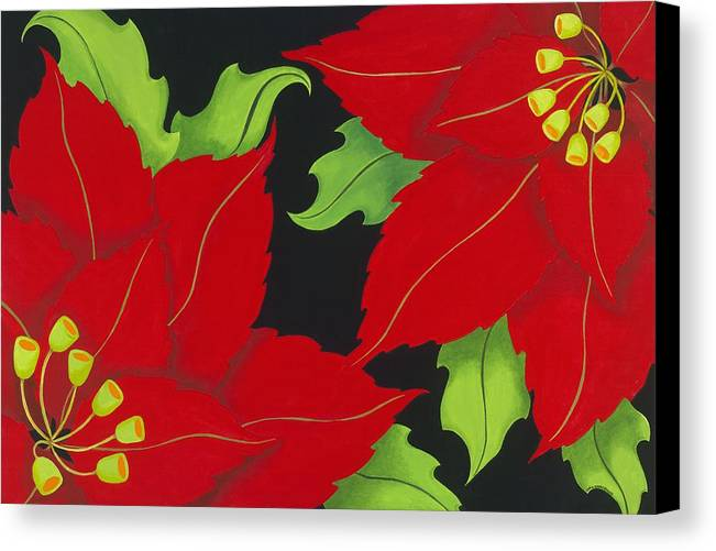 Acrylic Canvas Print featuring the painting Double Red Poinsettias by Carol Sabo