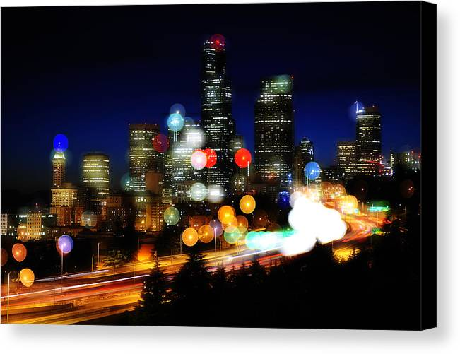Seattle Canvas Print featuring the photograph Emerald City Color Spots C060 by Yoshiki Nakamura