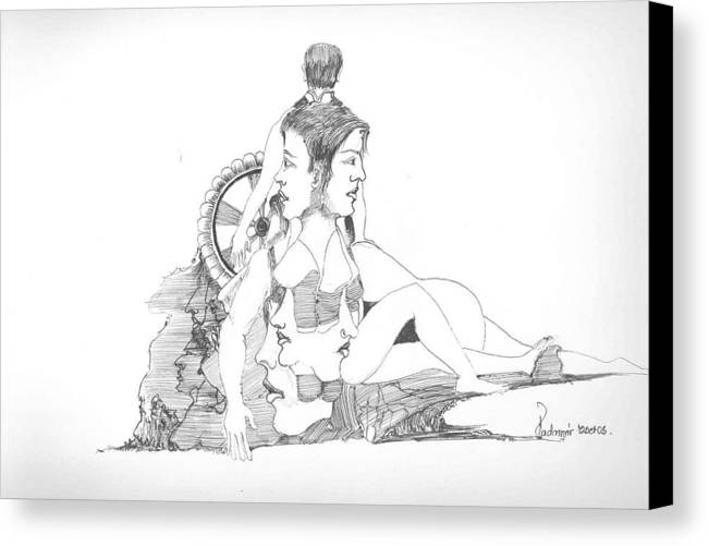 Faces Canvas Print featuring the drawing Faces Bodies And Other Forms by Padamvir Singh