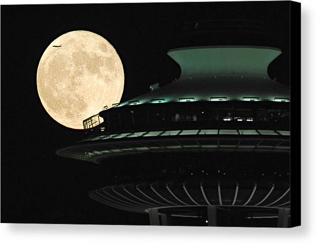 Seattle Canvas Print featuring the photograph Fly Me To The Moon A331 by Yoshiki Nakamura