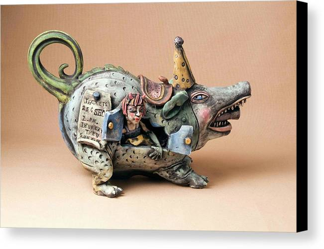 Pottery Teapot Animal Clay Fun Ceramic Canvas Print featuring the ceramic art Free Ride by Kathleen Raven