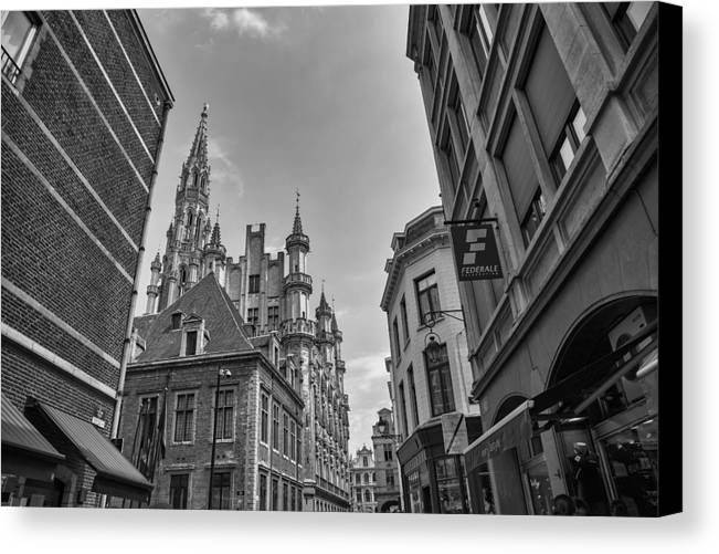 Town Hall Canvas Print featuring the photograph Gothic And Modern In Brussels by Georgia Fowler