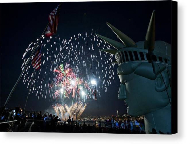 Fireworks Canvas Print featuring the photograph July 4th 2009 B168 by Yoshiki Nakamura