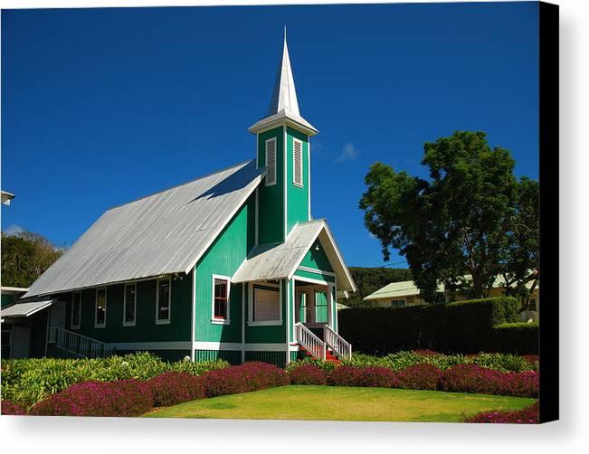 Canvas Print featuring the photograph Ke Ola Mau Loa Church - Waimea by Steven Rice