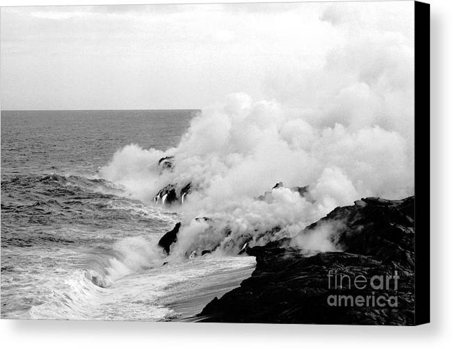 Lava Canvas Print featuring the photograph Lava Flowing To The Sea by Susan Chandler