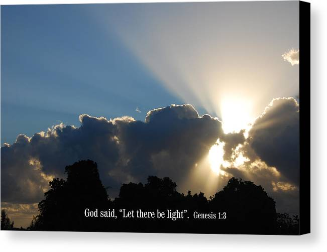 Christian Canvas Print featuring the photograph Let There Be Light by Steven Rice