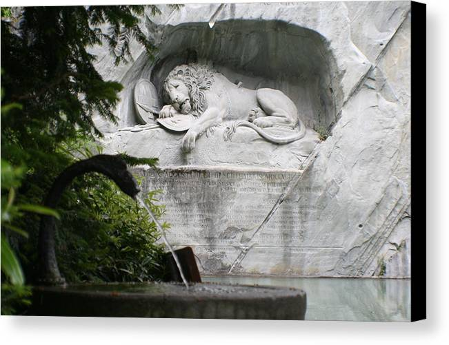 Switzerland Canvas Print featuring the photograph Lion Monument Lucerne Switzerland by Greg Sharpe