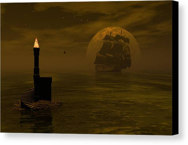 Windjammer Canvas Print featuring the digital art Make For The Light by Claude McCoy