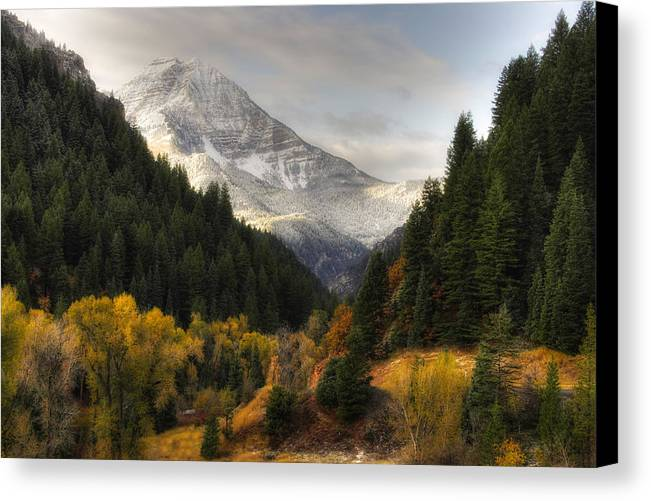 Mountain; Peak; Peaks; Mount Timpanogos Wilderness; Wasatch Mountains; Mt; Mts; Autumn; Fall; Winter Canvas Print featuring the photograph Mount Timpanogos 2 by Douglas Pulsipher