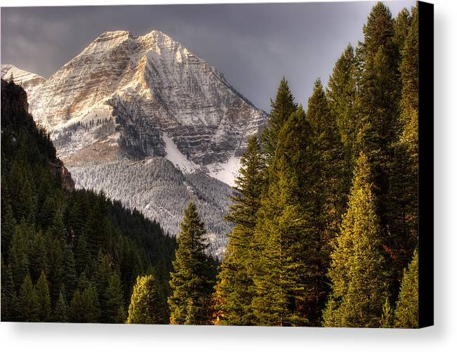 Mountain; Peak; Peaks; Mount Timpanogos Wilderness; Wasatch Mountains; Mt; Mts; Autumn; Fall; Winter Canvas Print featuring the photograph Mount Timpanogos 3 by Douglas Pulsipher