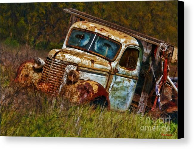 Old Trucks Canvas Print featuring the photograph Mr Greenjeans Truck Ciose Up by Blake Richards