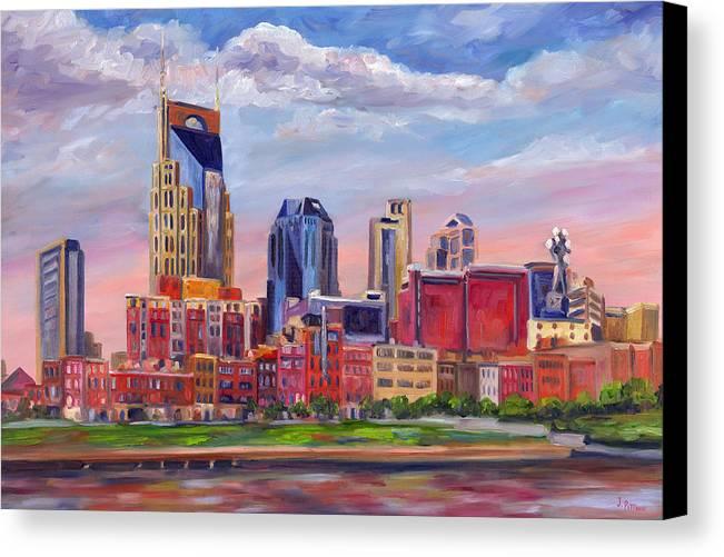Nashville Skyline Canvas Print featuring the painting Nashville Skyline Painting by Jeff Pittman