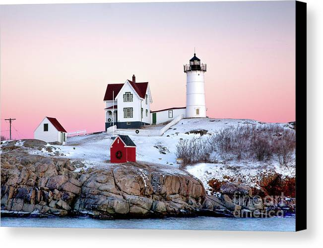 Cape Neddick Light Canvas Print featuring the photograph Nubble Glow by Susan Cole Kelly