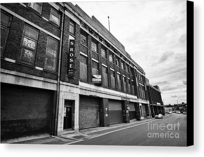 Old Canvas Print featuring the photograph old typhoo tea factory industrial commercial buildings in digbeth Birmingham UK by Joe Fox