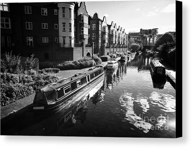 Canal Canvas Print featuring the photograph oozells street loop of birmingham canal navigations Birmingham UK by Joe Fox