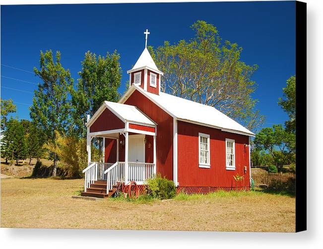 Christian Canvas Print featuring the photograph Pu'uanahulu Baptist Church - Pu'uanahulu by Steven Rice