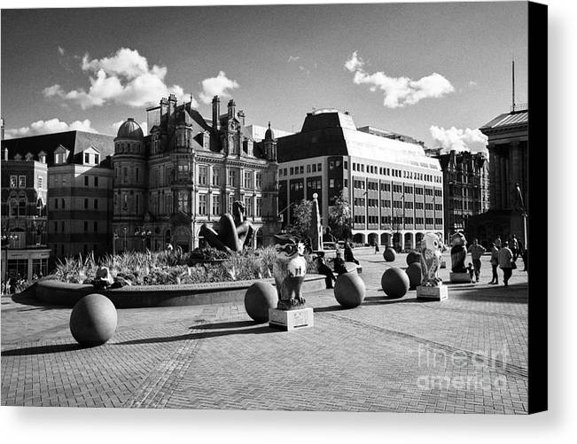 Victoria Canvas Print featuring the photograph river sculpture in Victoria Square Birmingham city centre UK by Joe Fox