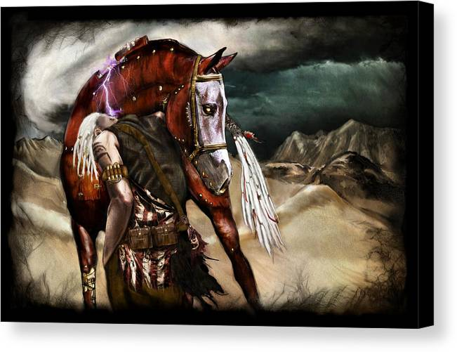Fantasy Canvas Print featuring the painting Ruined Empires - Skin Horse by Mandem